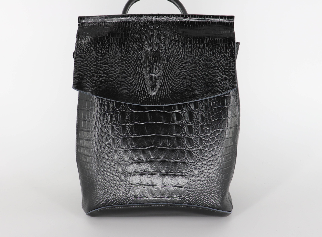 Женский кожаный рюкзак №1608-3VT Black, фото 4
