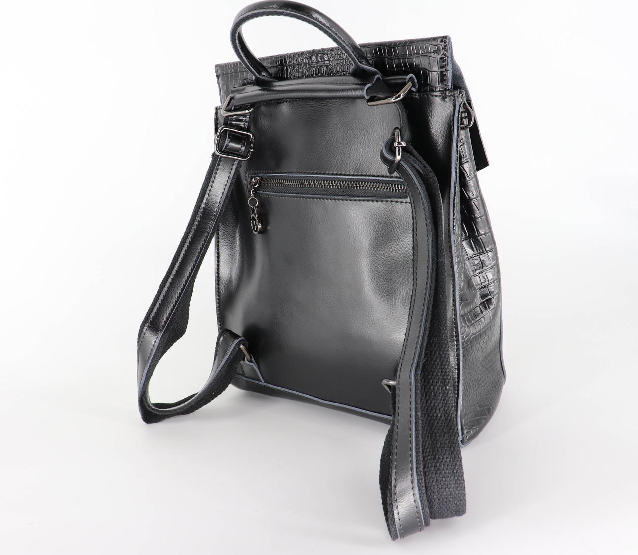 Женский кожаный рюкзак №1608-3VT Black, фото 3