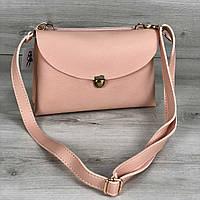 Женская сумочка кросс-боди на два отделения пудрового цвета
