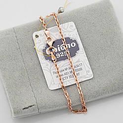 Серебряный браслет позолоченный Якорный ширина 2 мм  длина 19