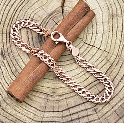 Серебряный браслет позолоченный Ромбик скруглённый ширина 6 мм  длина 21