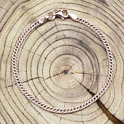 Серебряный браслет позолоченный Ромбик ширина 2.5 мм  длина 17