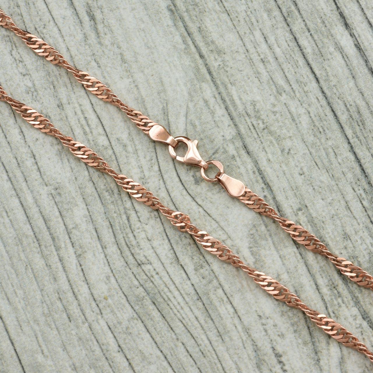Серебряная цепочка позолоченная Сингапур длина 50 см ширина 3 мм вес 7.0 г