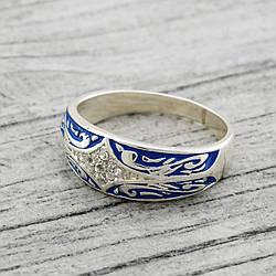 """Серебряное кольцо """"Мозаика"""", вставкабелые фианиты, вес 3.73 г, размер 15"""