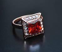 Кольцо с красным камнем фианита