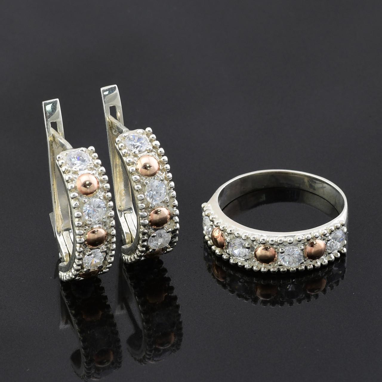 Серебряный набор с золотыми пластинами, кольцо размер 17 + серьги 21*6 мм