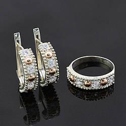 Серебряный набор с золотыми пластинами кольцо + серьги 21*6 мм размер 17