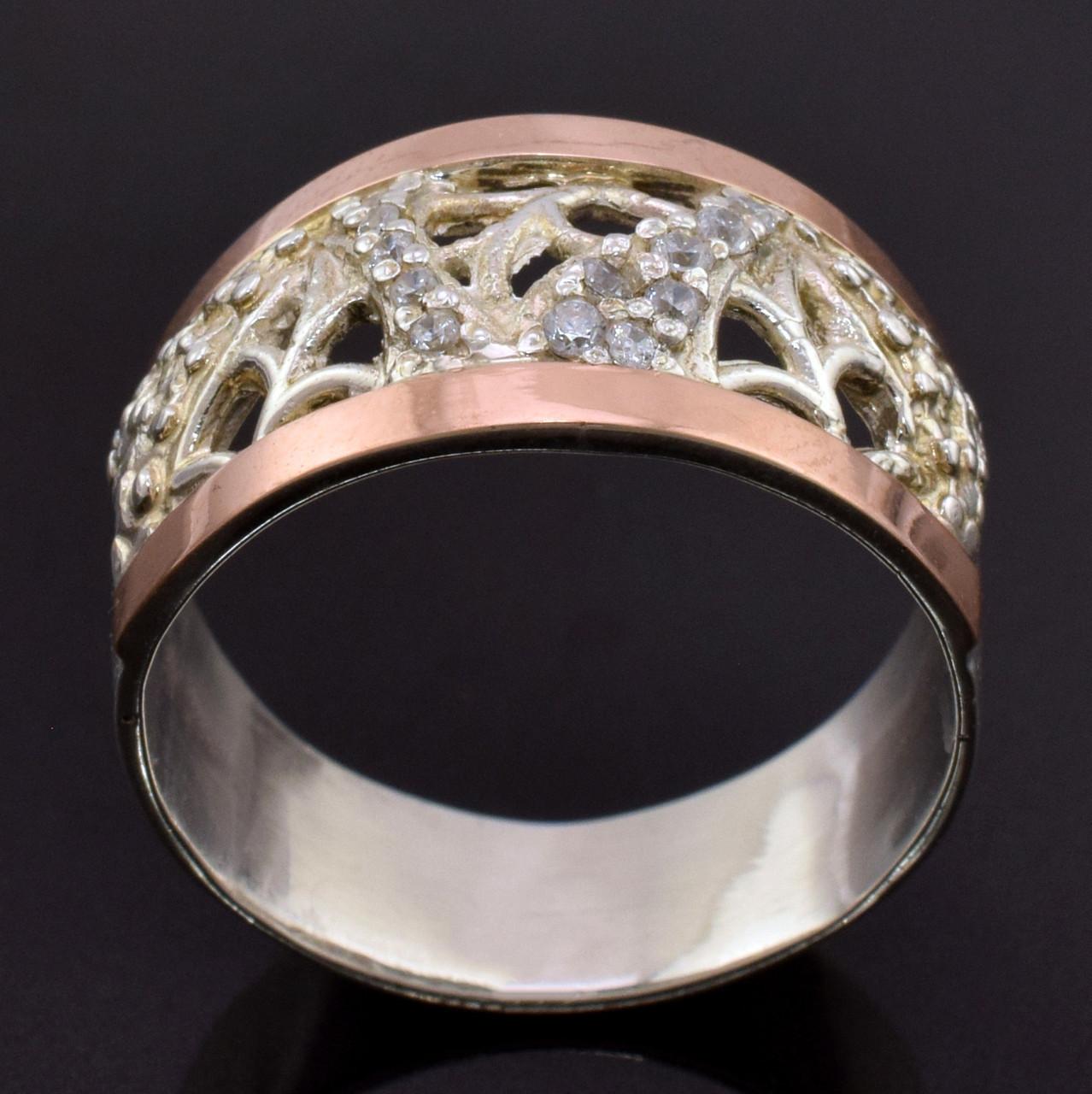 Серебряное кольцо с золотом Лоза вставка белые фианиты вес 5.0 г размер 17.5