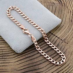 Серебряный браслет позолоченный Панцирный скруглённый ширина 4 мм  длина 20