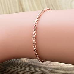 Серебряный браслет позолоченный Верёвочка ширина 2 мм  длина 17
