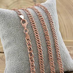 Серебряная цепочка позолоченная Ромбик скруглённый ширина 5 мм  длина 55