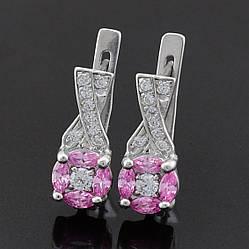 Серебряные серьги Артемида размер 16х7 мм вставка розовые фианиты вес 3.23 г