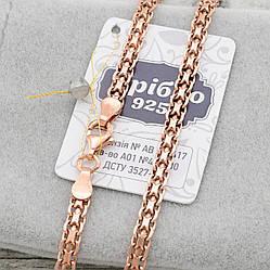Серебряная цепочка позолоченная Бисмарк ширина 3.5 мм  длина 50