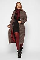 Удлиненное женское пальто демисезонное в клетку