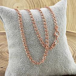 Серебряная цепочка позолоченная Love ширина 3 мм  длина 55