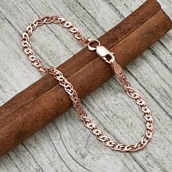 Серебряный браслет позолоченный Нонна ширина 3 мм  длина 20