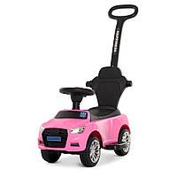 Машинка с магнитолой с родительской ручкой Bambi Розовая M 3503A(MP3)-8