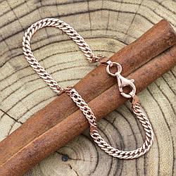 Серебряный браслет позолоченный Ромбик ширина 2.5 мм  длина 20
