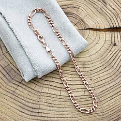 Серебряный браслет позолоченный Фигаро ширина 3.5 мм  длина 22