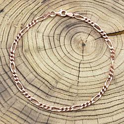 Серебряный браслет позолоченный Фигаро ширина 3.5 мм  длина 23