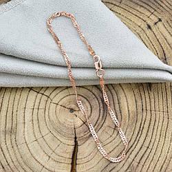 Серебряный браслет позолоченный Сингапур ширина 2 мм  длина 20