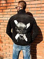 Джинсовка черная с черепом мужская пиджак джинсовый чёрный мужской с черепом