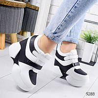 Кроссовки на платформе черные с белым