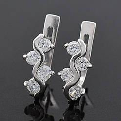 """Серебряные серьги """"Лавина"""", размер 14*6 мм, вставка белые фианиты, вес 3.06 г"""