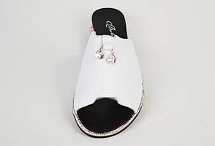 Шлепанцы кожаные Berkonty 18165 Белые, фото 3