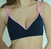 3068 Бюстгальтер для беременных хлопковый синий с розовым 80С, фото 1