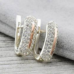 Серебряные серьги с золотом Сандра вставка белые фианиты размер 17х7 мм вес 3.2