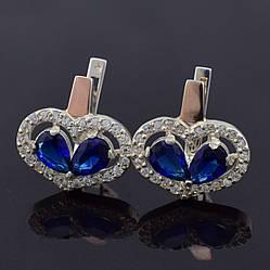 """Серебряные серьги с золотыми пластинами """"Любовь"""", размер 18*18 мм, вставка синие фианиты, вес 6.05 г"""
