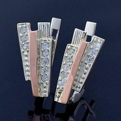 """Серебряные серьги с золотыми пластинами """"Олимп"""", размер 16*7 мм, вставка белые фианиты, вес 3.37 г"""