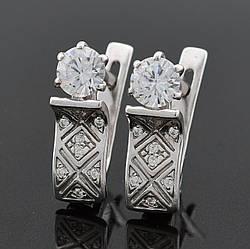 Серебряные серьги Алмазные размер 16х5 мм вставка белые фианиты вес 2.98 г
