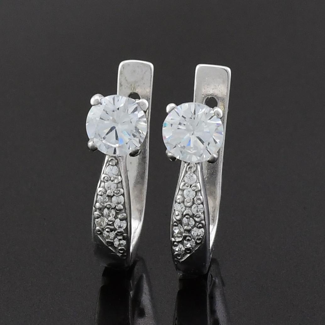 """Серебряные серьги """"Полинка"""", размер 15*5 мм, вставка белые фианиты, вес 2.82 г"""