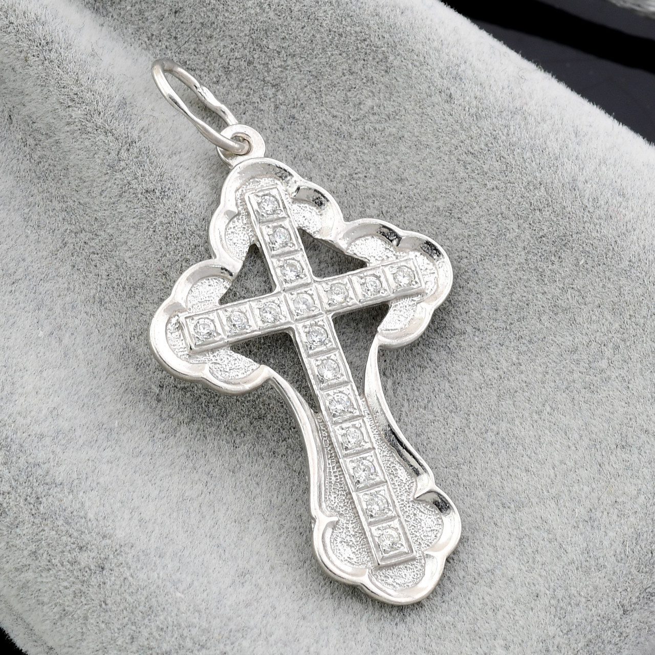 Серебряный крестик 3364-Р, размер 44*22 мм, вставка белые фианиты, вес 3.01 г