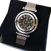 Женские кварцевые наручные часы Pandora (Пандора) на магнитной застежке, серебро, вращающийся циферблат