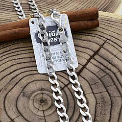 Серебряная цепочка родированная Панцирная скруглённая ширина 6 мм  длина 60