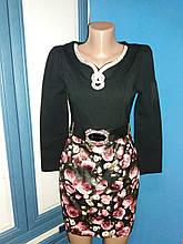 Платье вечернее нарядное женское черное с украшением р.42 (С)
