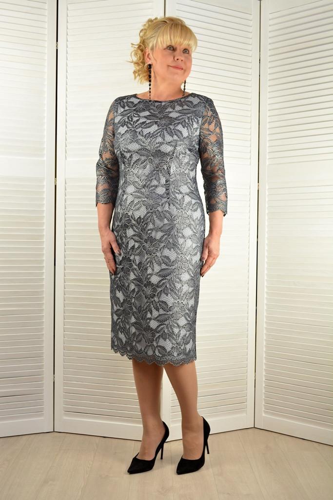 """Платье кружевное """"Ника"""" серебро - Модель 1623-10 ( 50,52,54,56 размер )"""