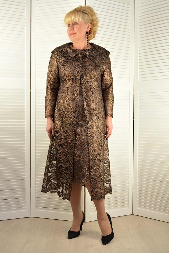 Комплект: Платье и кардиган бронза - Модель 1623-11+1816 ( 50 размер )