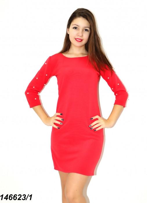 Платье трикотажное с декором,коралл 42 44 46