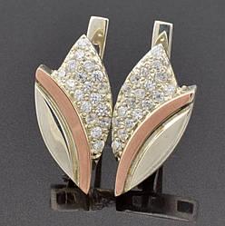 Серебряные серьги с золотом Бутон размер 20х10 мм вставка белые фианиты вес 3.1 г