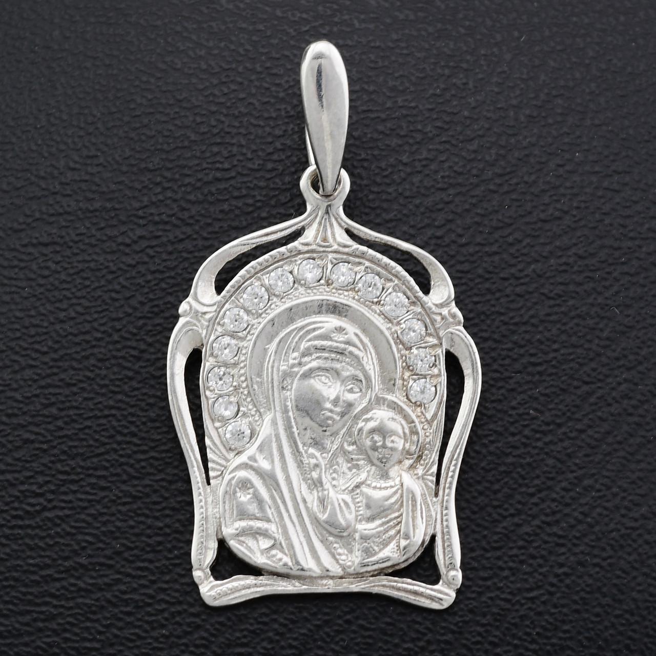 Серебряная иконка Казанская с камнями размер 34х19 мм вес 2.80 г