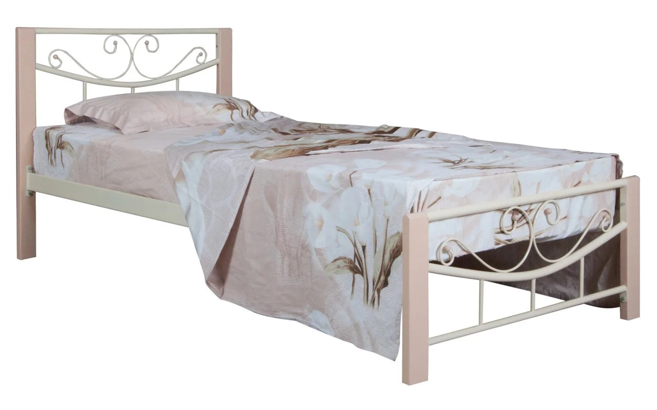 Кровать Эмили металлическая односпальная с деревянными ножками ТМ Melbi