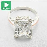 """Серебряное кольцо с золотыми пластинами """"Тюльпан"""", вставка белый фианит, вес 4.68 г, размер 21"""