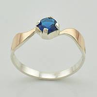 Серебряное кольцо с золотыми пластинами 1152 пк, вставка синий алпанит, вес 1.9 г, размер 18.5