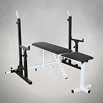 Лавка регульована для жима (до 250 кг) та Стійки з страховкою (до 200 кг). Штанга та гантелі 105 кг, фото 2