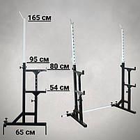 Лавка регульована для жима (до 250 кг) та Стійки з страховкою (до 200 кг). Штанга та гантелі 105 кг, фото 5
