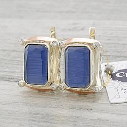 Серебряные серьги с золотыми пластинами Глория размер 21х17 мм вставка синий улексит вес 12.7 г